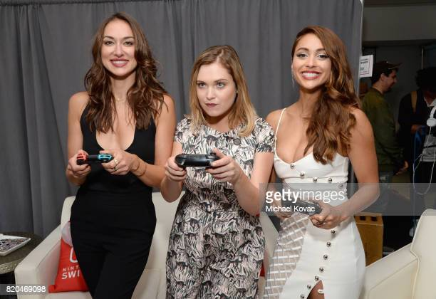 Actress' Tasya Teles Eliza Taylor and Lindsey Morgan from the television series 'The 100' stopped by Nintendo at the TV Insider Lounge to check out...