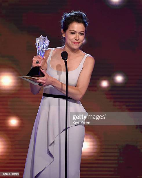Actress Tatiana Maslany accepts the Best Actress in a Drama Series award for 'Orphan Black' onstage during the 4th Annual Critics' Choice Television...