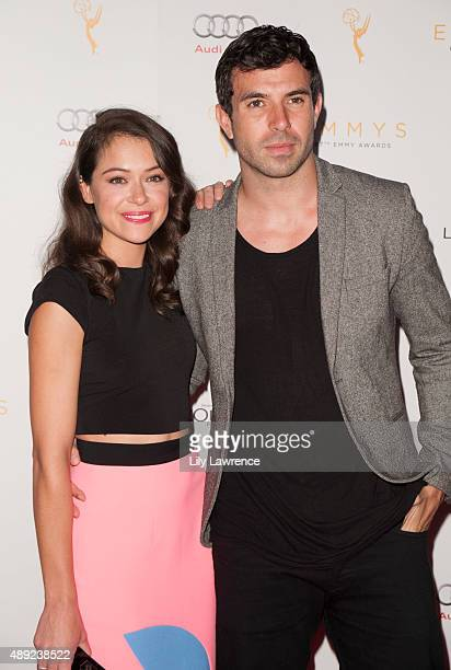 Actress Tatiana Maslany and actor Tom Cullen arrive at the Television Academy Celebrates The 67th Emmy Award Nominees for Outstanding Performances at...