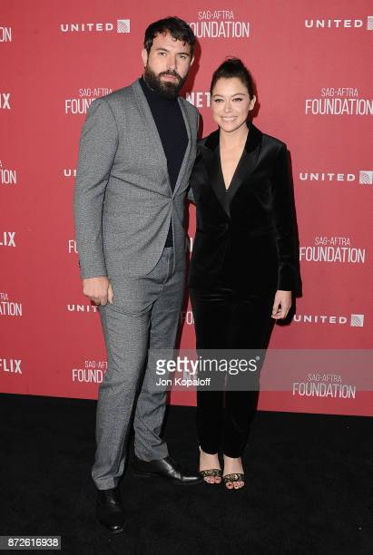 Actress Tatiana Maslany and Tom Cullen arrive at SAGAFTRA Foundation Patron of the Artists Awards 2017 on November 9 2017 in Beverly Hills California