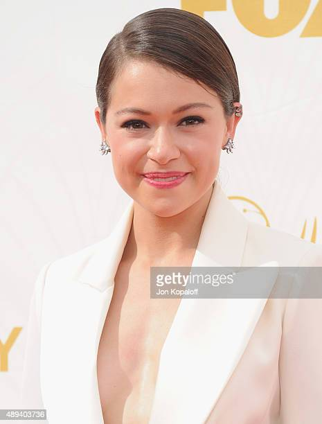 Actress Tatiana Maslany arrives at the 67th Annual Primetime Emmy Awards at Microsoft Theater on September 20 2015 in Los Angeles California