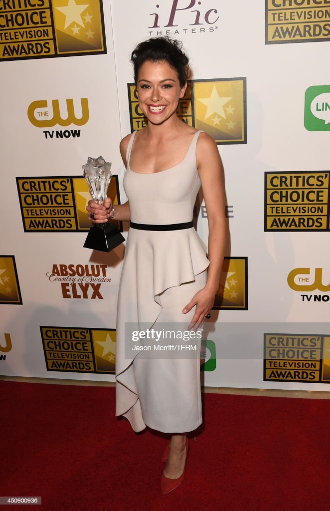 Actress <a gi-track='captionPersonalityLinkClicked' href=/galleries/search?phrase=Tatiana+Maslany&family=editorial&specificpeople=4489724 ng-click='$event.stopPropagation()'>Tatiana Maslany</a>, winner of Best Actress in a Drama Series 'Orphan Black', poses in the press room during the 4th Annual Critics' Choice Television Awards at The Beverly Hilton Hotel on June 19, 2014 in Beverly Hills, California.