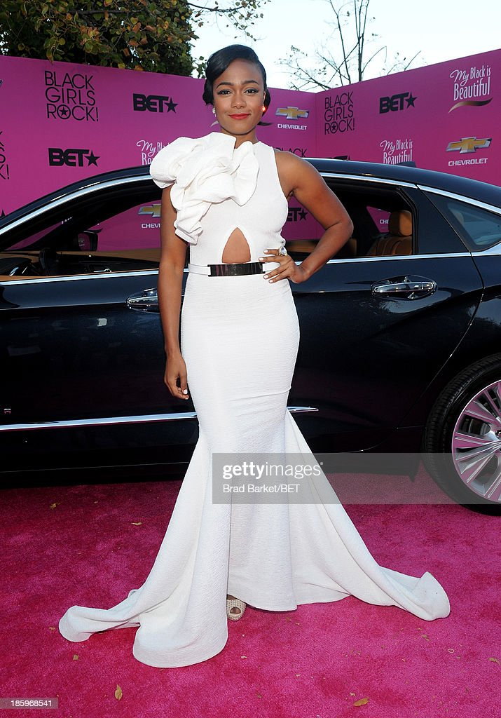 Actress <a gi-track='captionPersonalityLinkClicked' href=/galleries/search?phrase=Tatyana+Ali&family=editorial&specificpeople=847071 ng-click='$event.stopPropagation()'>Tatyana Ali</a> attends BET Black Girls Rock arrivals presented by Chevy at New Jersey Performing Arts Center on October 26, 2013 in Newark, New Jersey.