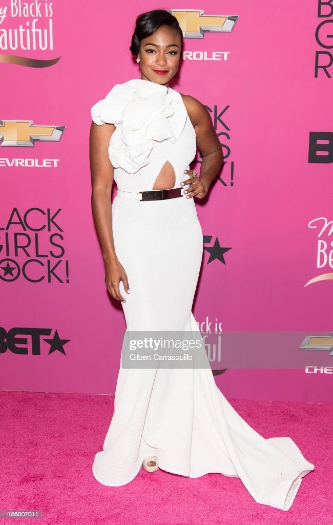 Actress <a gi-track='captionPersonalityLinkClicked' href=/galleries/search?phrase=Tatyana+Ali&family=editorial&specificpeople=847071 ng-click='$event.stopPropagation()'>Tatyana Ali</a> attends Black Girls Rock! 2013 at New Jersey Performing Arts Center on October 26, 2013 in Newark, New Jersey.