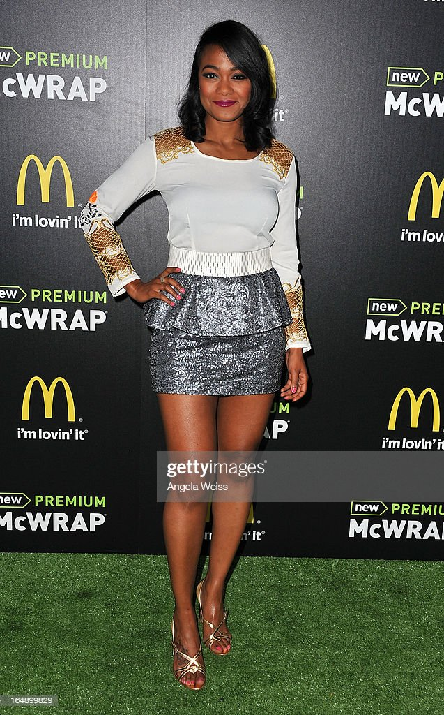 Actress Tatyana Ali attends the launch party of McDonald's Premium McWrap at Paramount Studios on March 28, 2013 in Hollywood, California.