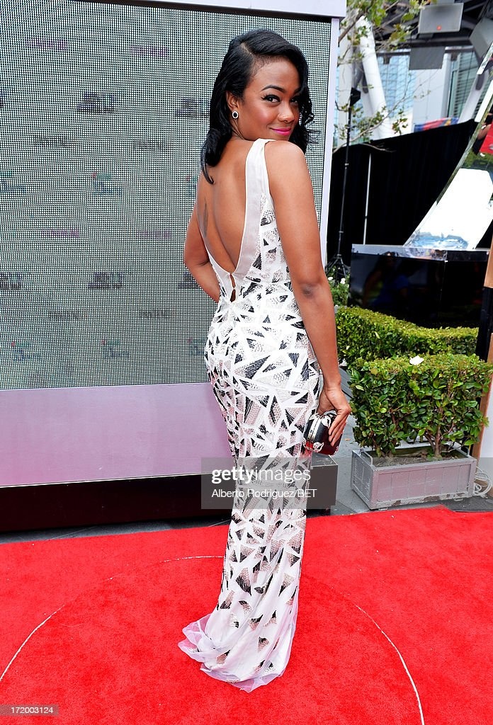 Actress <a gi-track='captionPersonalityLinkClicked' href=/galleries/search?phrase=Tatyana+Ali&family=editorial&specificpeople=847071 ng-click='$event.stopPropagation()'>Tatyana Ali</a> attends the P&G Red Carpet Style Stage at the 2013 BET Awards at Nokia Theatre L.A. Live on June 30, 2013 in Los Angeles, California.