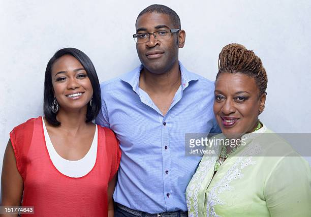 Actress Tatyana Ali director Sudz Sutherland and actress CCH Pounderof 'Home Again' poses at the Guess Portrait Studio during 2012 Toronto...
