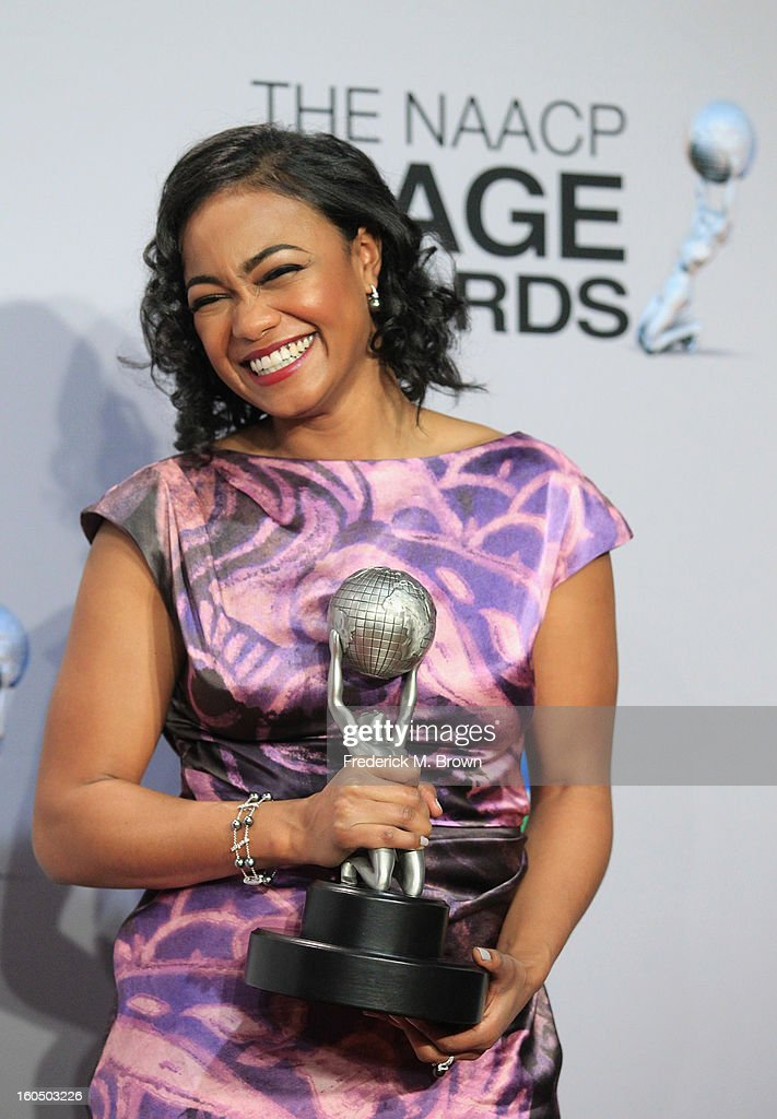 Actress Tatyana Ali, winner of Outstanding Actress in a Daytime Drama Series, poses in the press room during the 44th NAACP Image Awards at The Shrine Auditorium on February 1, 2013 in Los Angeles, California.