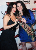 Actress Tawny Amber Young and actress Sara Barrett attend the ShockFest Film Festival Awards held at Raleigh Studios on January 11 2014 in Los...