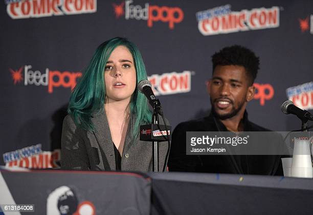 Actress Taylor Dearden and actor Brandon Mychal Smith attend the Sweet/Vicious press junket at New York Comic Con at Javits Center on October 7 2016...