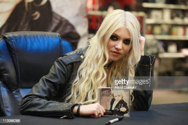 Actress Taylor Momsen of the band The Pretty Reckless promotes 'Light Me Up' at Best Buy Union Square on April 12 2011 in New York City
