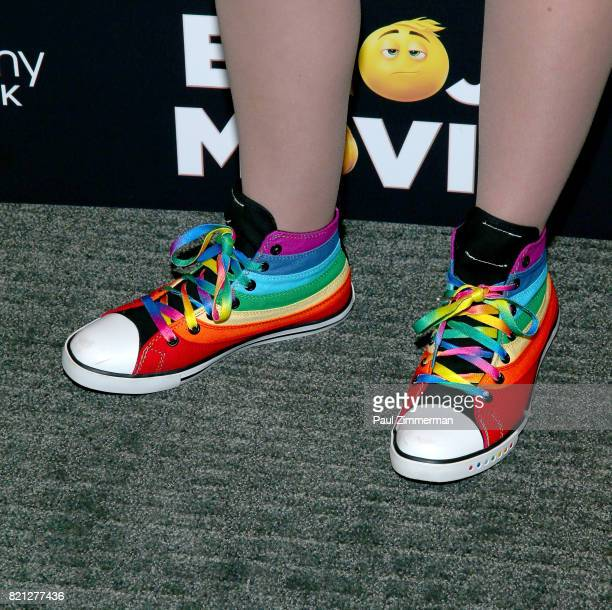 Actress Taylor Richardson sneaker detail at 'The Emoji Movie' Special Screening at NYIT Auditorium on Broadway on July 23 2017 in New York City