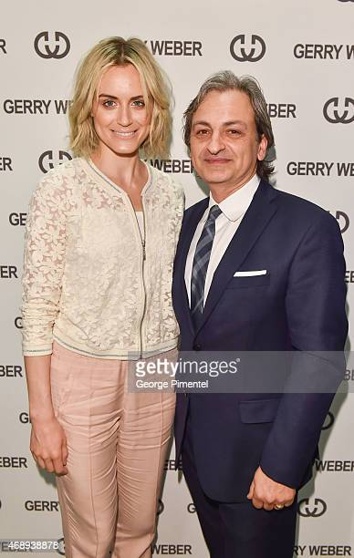 Actress Taylor Schilling and General Manager of GERRY WEBER Joe Caporrella attend the Canadian launch of GERRY WEBER at Yorkdale Shopping Centre on...