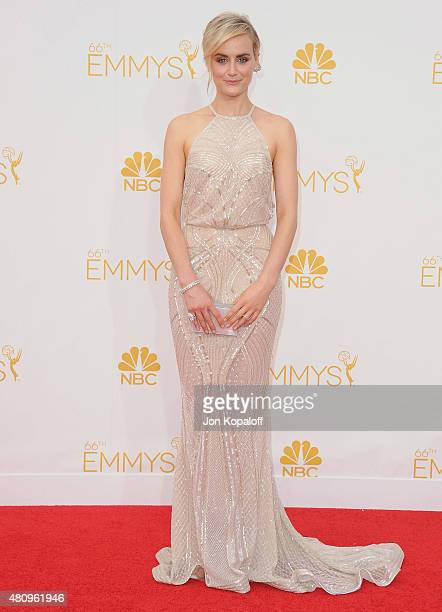 Actress Taylor Schilling arrives at the 66th Annual Primetime Emmy Awards at Nokia Theatre LA Live on August 25 2014 in Los Angeles California