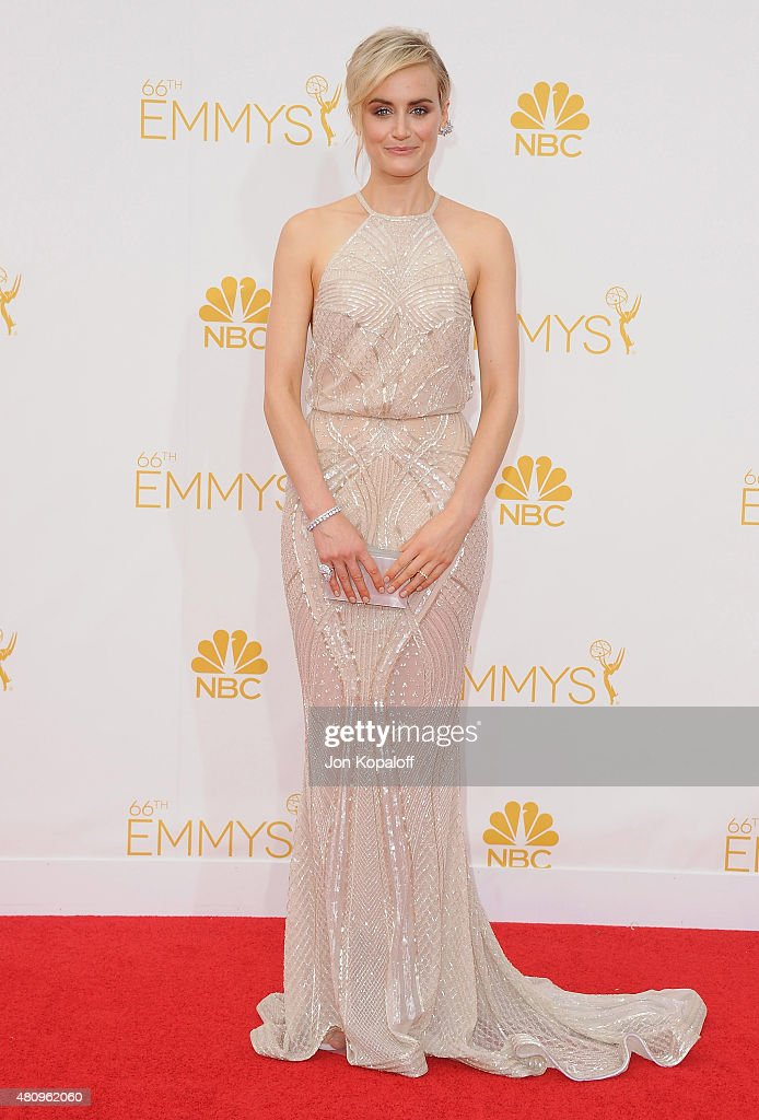Actress Taylor Schilling arrives at the 66th Annual Primetime Emmy Awards at Nokia Theatre L.A. Live on August 25, 2014 in Los Angeles, California.