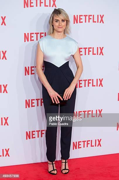 Actress Taylor Schilling attends Netflix presentation Red Carpet at 'Matadero' on October 20 2015 in Madrid Spain