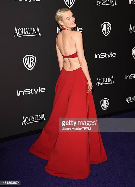 Actress Taylor Schilling attends the 2015 InStyle And Warner Bros 72nd Annual Golden Globe Awards PostParty at The Beverly Hilton Hotel on January 11...