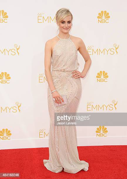 Actress Taylor Schilling attends the 66th annual Primetime Emmy Awards at Nokia Theatre LA Live on August 25 2014 in Los Angeles California