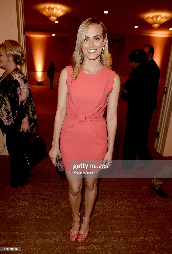 Actress <a gi-track='captionPersonalityLinkClicked' href=/galleries/search?phrase=Taylor+Schilling&family=editorial&specificpeople=5852086 ng-click='$event.stopPropagation()'>Taylor Schilling</a> attends the Hollywood Foreign Press Association's 2013 Installation Luncheon at The Beverly Hilton Hotel on August 13, 2013 in Beverly Hills, California.