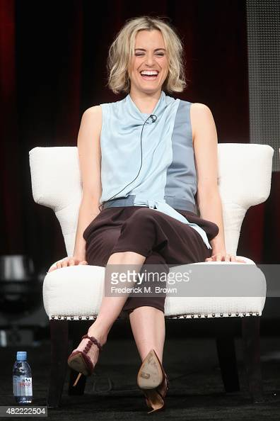 Actress Taylor Schilling speaks onstage during the 'Orange Is the New Black' panel discussion at the Netflix portion of the 2015 Summer TCA Tour at...