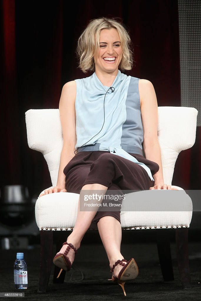 Actress Taylor Schilling speaks onstage during the 'Orange Is the New Black' panel discussion at the Netflix portion of the 2015 Summer TCA Tour at The Beverly Hilton Hotel on July 28, 2015 in Beverly Hills, California.