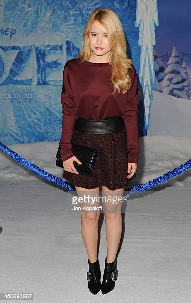 Actress Taylor Spreitler arrives at the Los Angeles Premiere 'Frozen' at the El Capitan Theatre on November 19 2013 in Hollywood California