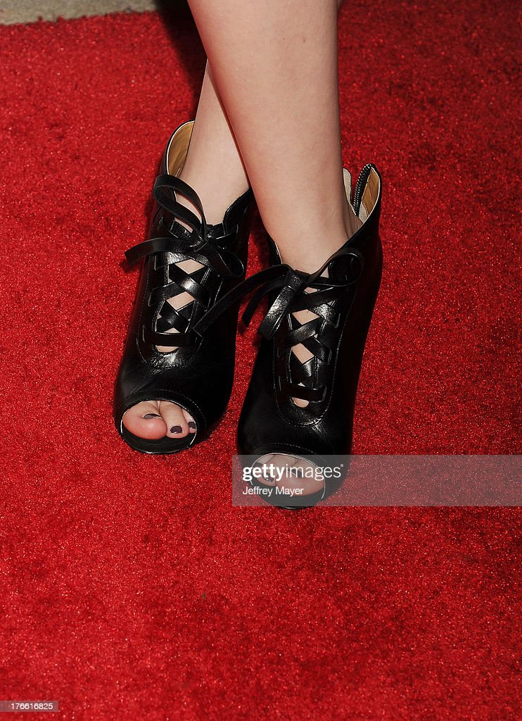 Actress Taylor Spreitler (shoe detail) at WWE & E! Entertainment's 'SuperStars For Hope' at the Beverly Hills Hotel on August 15, 2013 in Beverly Hills, California.