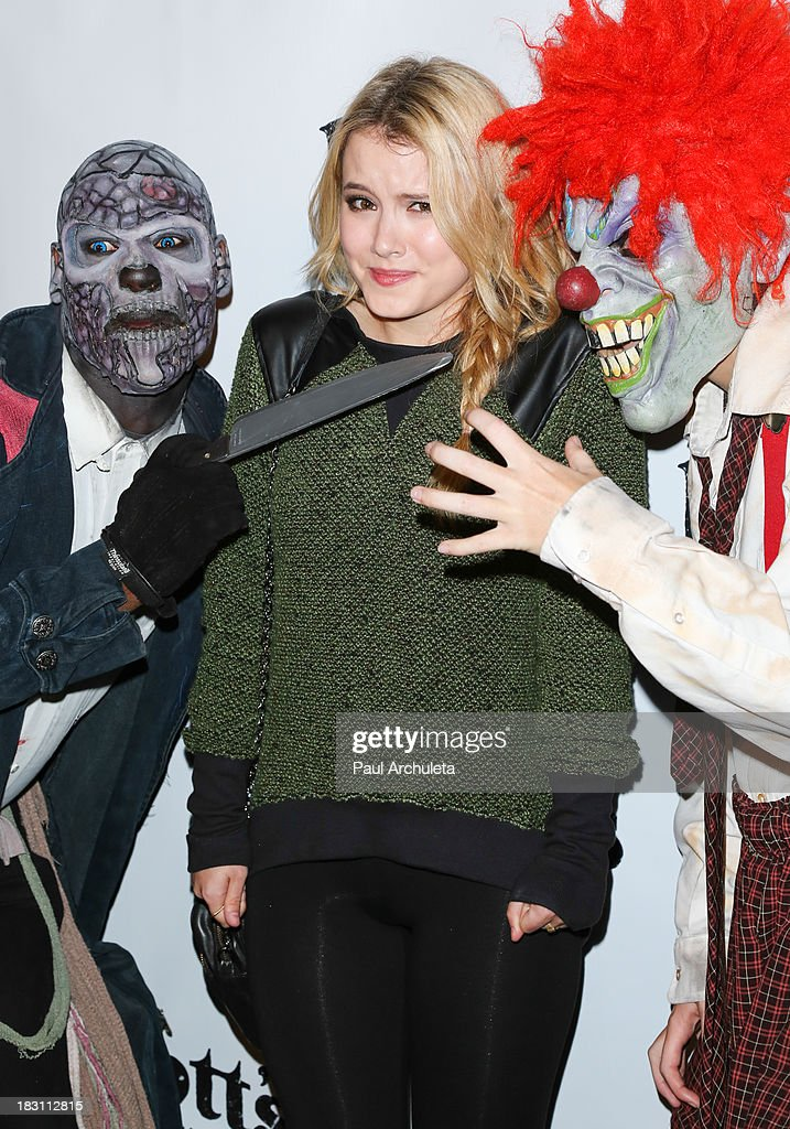 Actress <a gi-track='captionPersonalityLinkClicked' href=/galleries/search?phrase=Taylor+Spreitler&family=editorial&specificpeople=5784396 ng-click='$event.stopPropagation()'>Taylor Spreitler</a> attends the VIP opening of Knott's Scary Farm HAUNT at Knott's Berry Farm on October 3, 2013 in Buena Park, California.