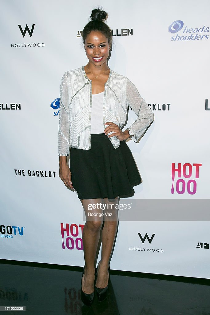 Actress Taylour Paige arrives at Logo's 'Hot 100' Party at Drai's Lounge in W Hollywood on June 25, 2013 in Hollywood, California.