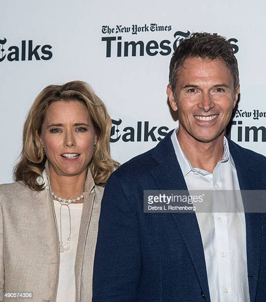 Actress Tea Leoni and Actor Tim Daly attend the Times Talks Presents An Evening With The Cast Of 'Madame Secretary' at Haft Auditorium at FIT on...