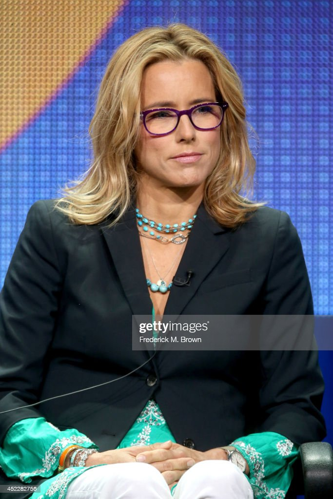 Actress Tea Leoni speaks onstage at the 'Madam Secretary' panel during the CBS Network portion of the 2014 Summer Television Critics Association at...