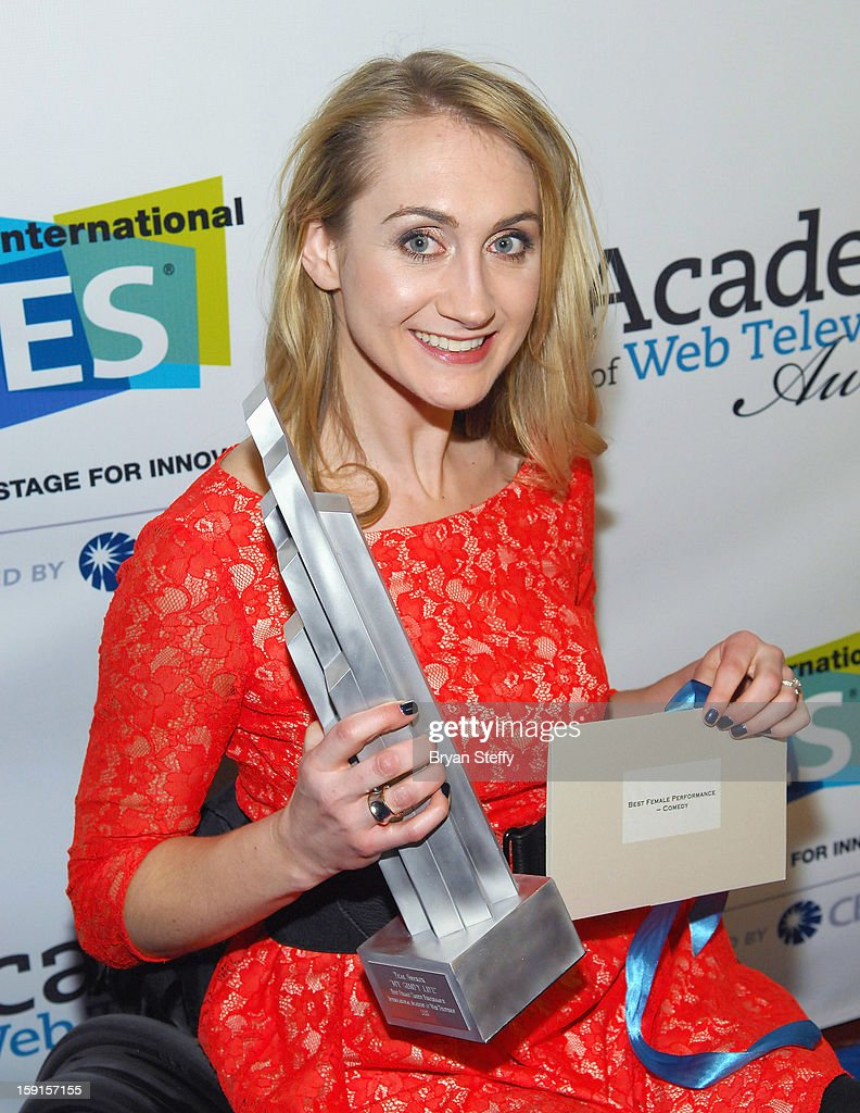 Actress Teal Sherer poses with the IAWTV award for 'My Gimpy Life' Best Comedy Performance at the IAWTV Awards at the CES 2013 Show at the Palazzo Theater at the Palazzo Resort Hotel/Casino on January 8, 2013 in Las Vegas, Nevada.