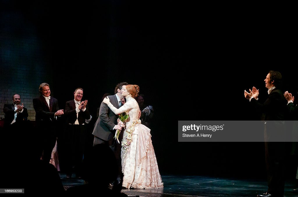 Actress Teal Wicks is congratulated on stage during the curtain call for the Broadway opening night of 'Jekyll & Hyde The Musical' at the Marquis Theatre on April 18, 2013 in New York City.