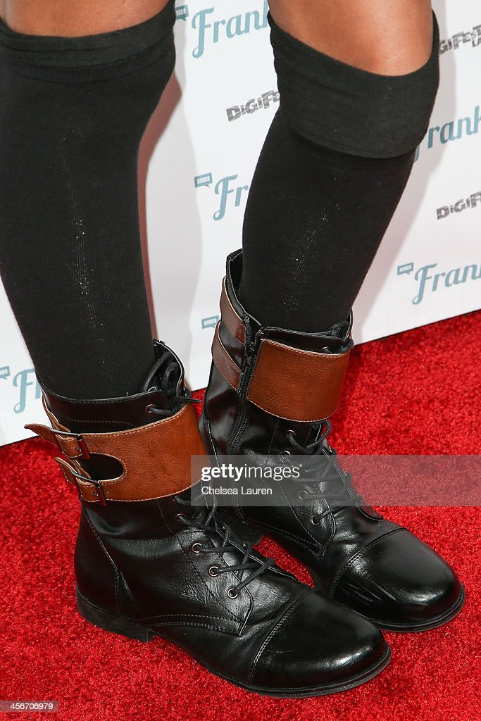 Actress Teala Dunn (shoe detail) arrives at DigiFest LA at Hollywood Palladium on December 14, 2013 in Hollywood, California.