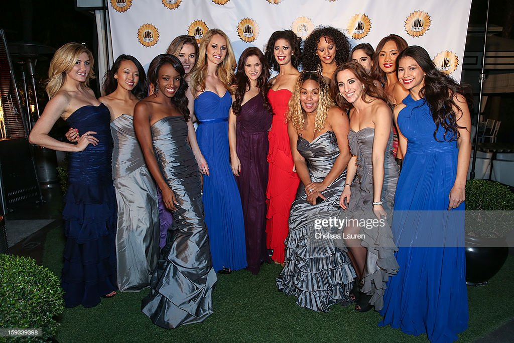 Actress Tee Ashira (center right) attends the AVG outreach event at the Viceroy Hotel on January 11, 2013 in Santa Monica, California.