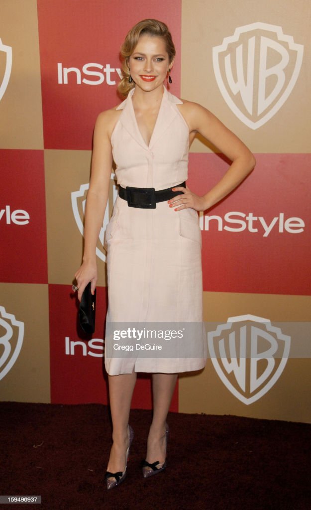 Actress Teresa Palmer arrives at the InStyle and Warner Bros. Golden Globe party at The Beverly Hilton Hotel on January 13, 2013 in Beverly Hills, California.