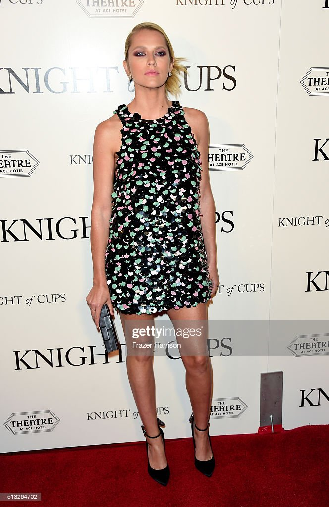 Actress Teresa Palmer arrives at the Premiere of Broad Green Pictures' 'Knight Of Cups' at the Theatre at Ace Hotel on March 1, 2016 in Los Angeles, California.