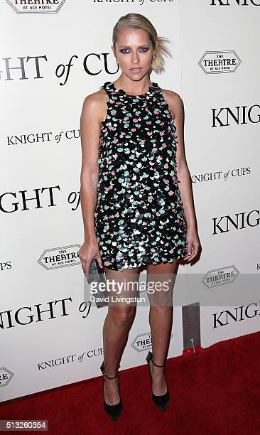 Actress Teresa Palmer attends the premiere of Broad Green Pictures' 'Knight of Cups' at The Theatre at Ace Hotel on March 1 2016 in Los Angeles...