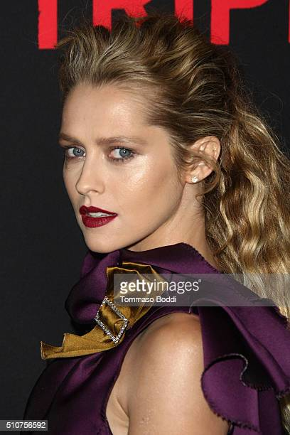 Actress Teresa Palmer attends the premiere of Open Road's 'Triple 9' held at Regal Cinemas LA Live on February 16 2016 in Los Angeles California