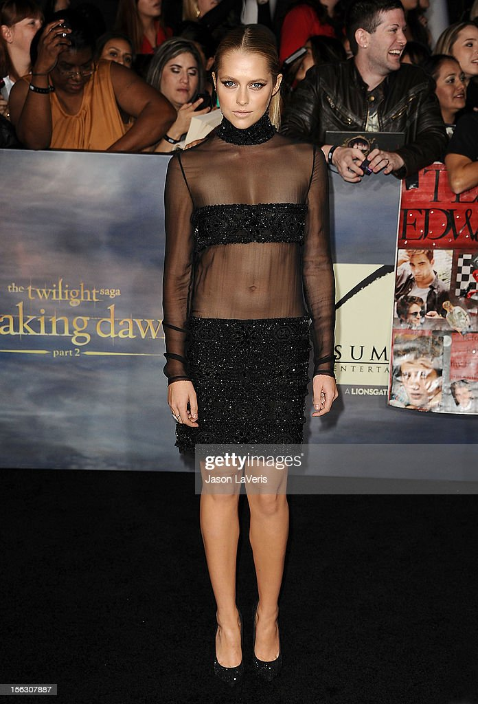 Actress Teresa Palmer attends the premiere of 'The Twilight Saga: Breaking Dawn - Part 2' at Nokia Theatre L.A. Live on November 12, 2012 in Los Angeles, California.