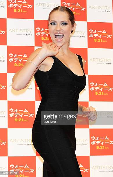 Actress Teresa Palmer attends the stage greeting of 'Warm Bodies' at Space FS Shiodome on September 9 2013 in Tokyo Japan