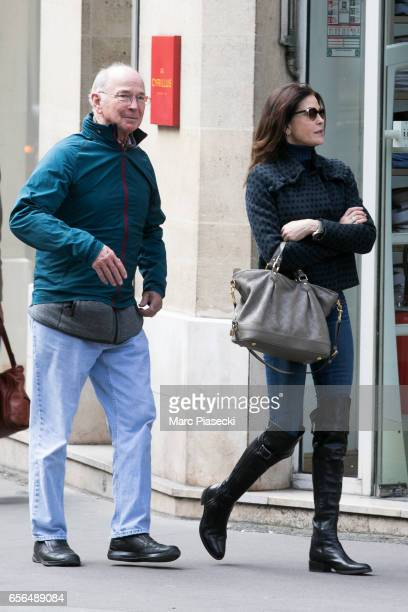 Actress Teri Hatcher and her father Owen W Hatcher are seen on March 22 2017 in Paris France