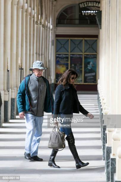 Actress Teri Hatcher and her father Owen W Hatcher are spotted at the Palais Royal on March 22 2017 in Paris France
