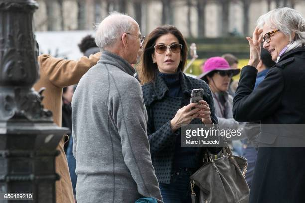 Actress Teri Hatcher and her father Owen W Hatcher are spotted in front of the Louvre pyramid on March 22 2017 in Paris France
