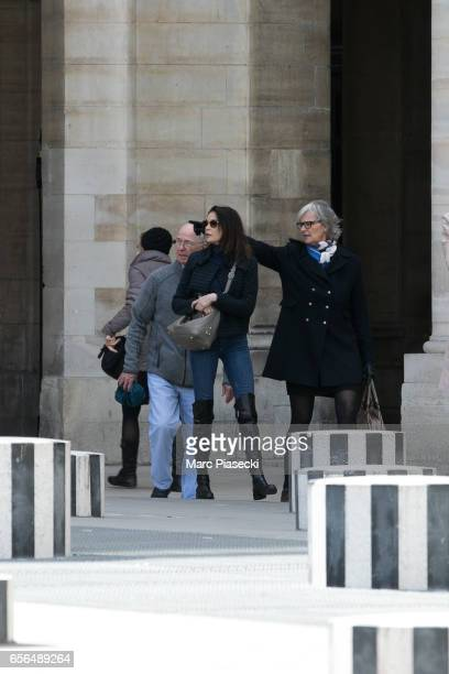 Actress Teri Hatcher and her father Owen W Hatcher are spotted in front of the Palais Royal on March 22 2017 in Paris France