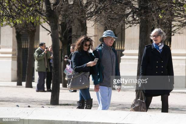 Actress Teri Hatcher and her father Owen W Hatcher are spotted in the Palais Royal gardens on March 22 2017 in Paris France