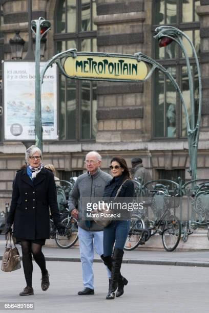 Actress Teri Hatcher and her father Owen W Hatcher are spotted on 'Place du Palais Royal' on March 22 2017 in Paris France