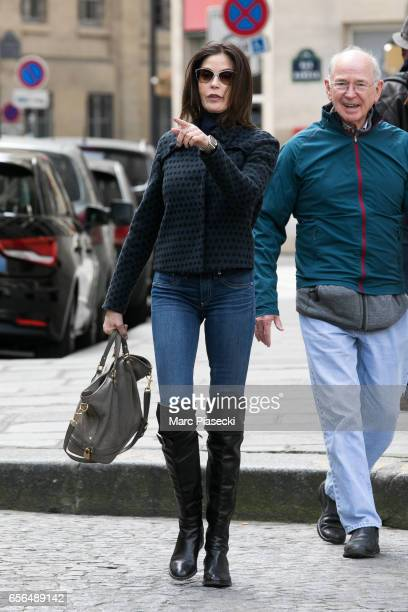 Actress Teri Hatcher and her father Owen W Hatcher are spotted on 'Place des Petits Peres' on March 22 2017 in Paris France