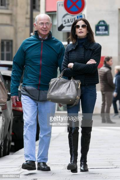 Actress Teri Hatcher and her father Owen W Hatcher are spotted on 'Rue de la Banque' on March 22 2017 in Paris France