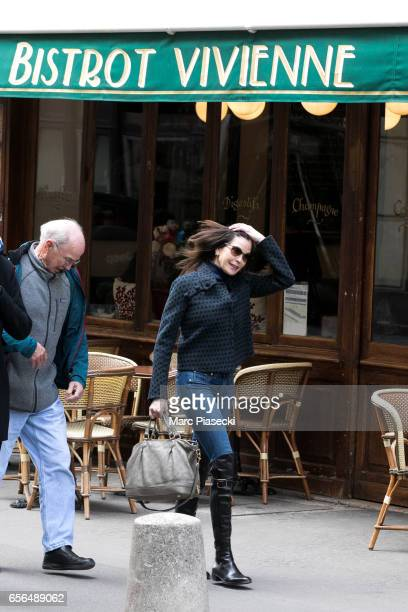 Actress Teri Hatcher and her father Owen W Hatcher are spotted leaving te 'Galerie Vivienne' on March 22 2017 in Paris France